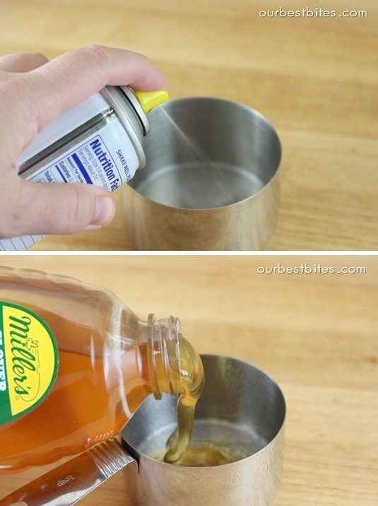 Hack #40: Coat measuring cups with cooking spray