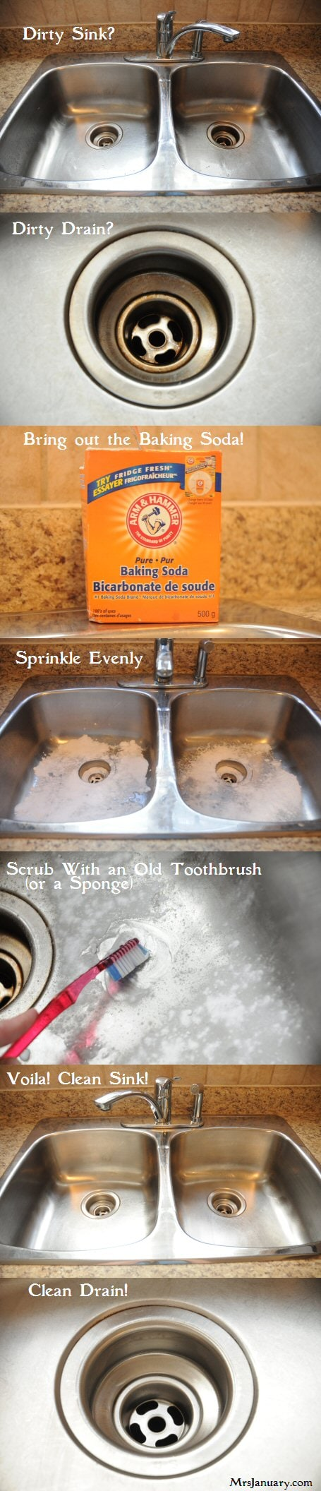 Hack #78: Clean your sink with baking soda