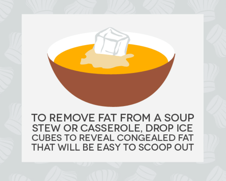 Hack #17: Remove fat from soup, casserole, or stew