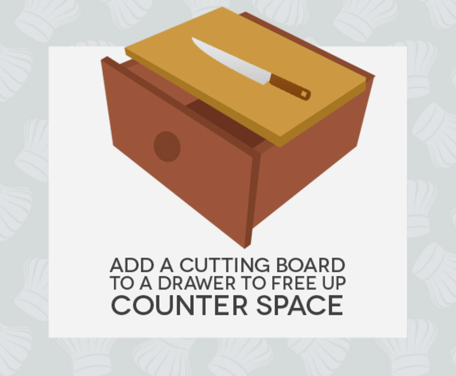 Hack #42: Turn a drawer into a cutting board