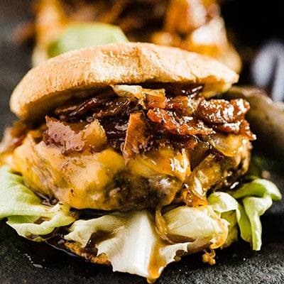 Caramelized Onions and Bacon Whiskey Sauce Hamburger