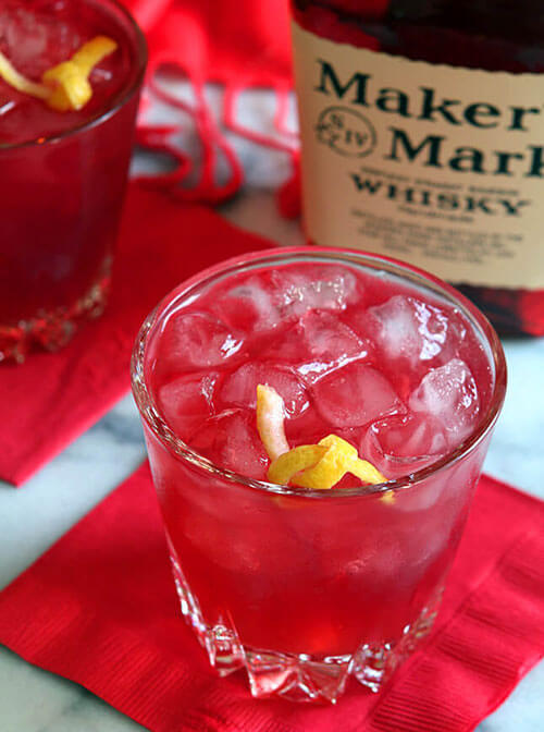 Bourbon, Pomegranate and Ginger Beer Cocktail