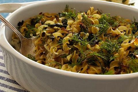 Chard And Caramelized Shallot Noodle Kugel