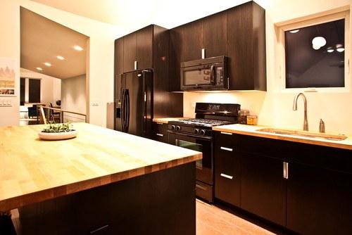 Black Contemporary Kitchen in Portland
