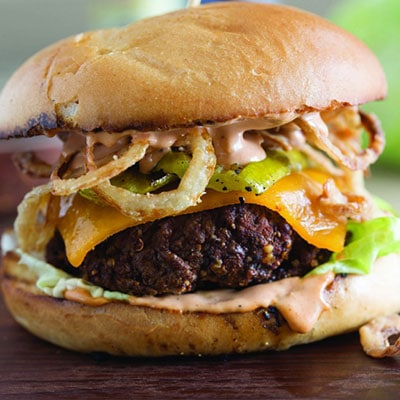 Cowboy Hamburger with Grilled Pickles and Crispy Onion Straws