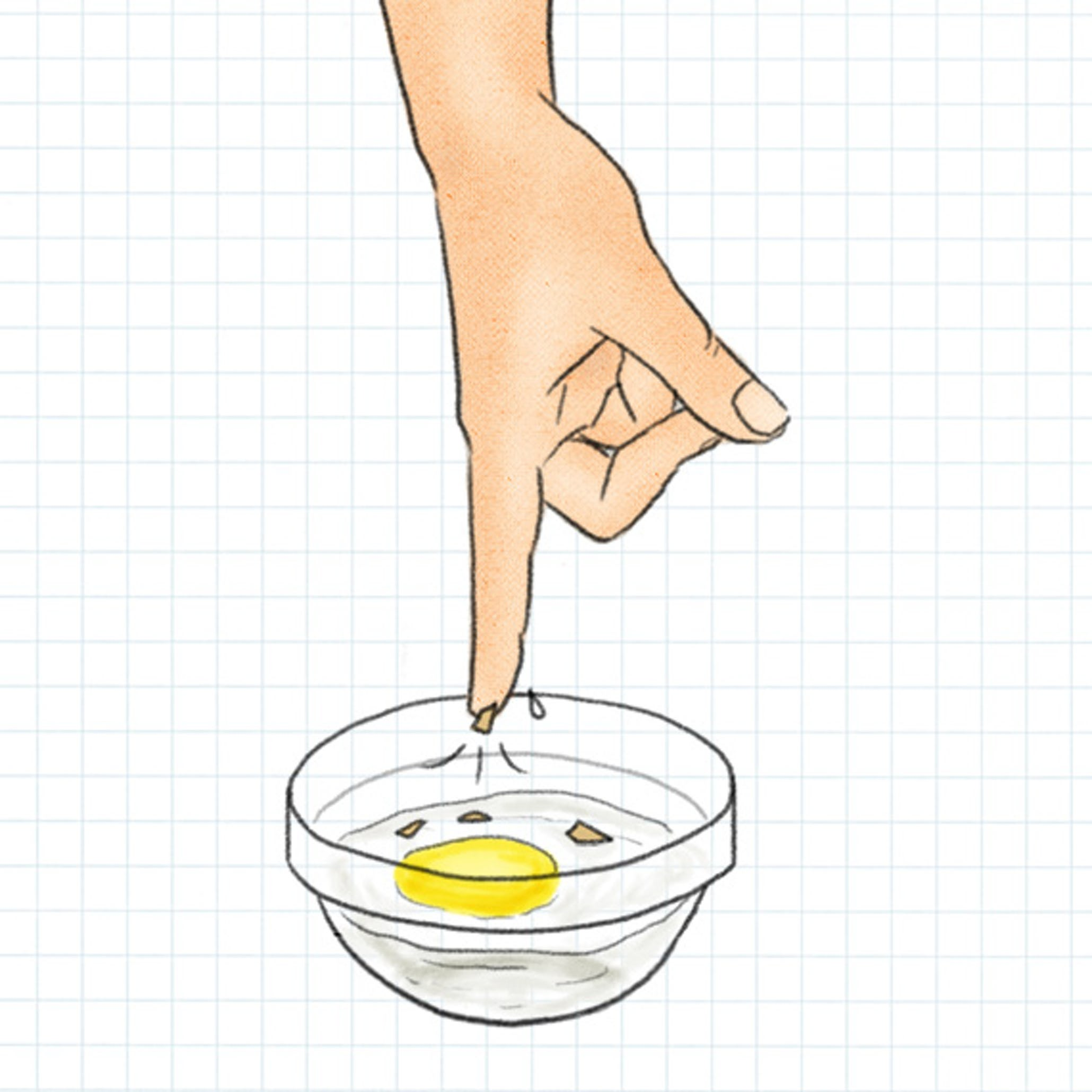 Hack #14: Easily remove eggshell pieces from yolk