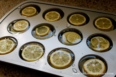 Hack #48: Freeze lemons in a cupcake pan for large cubes meant for pitchers