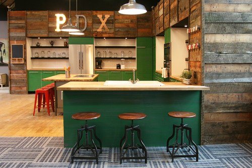 Industrial Kitchen by New York Interior Designers & Decorators Jen Chu Design