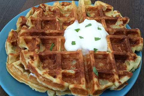 Mashed Potato Waffles with Onions, Cheese & Chives
