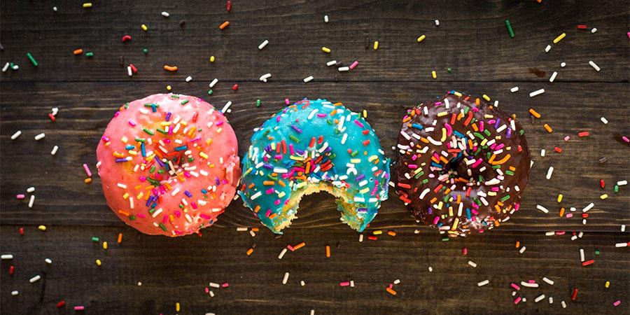 Red, Blue, & Brown Sprinkled Donuts