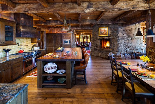 Rustic Kitchen by Bozeman Photographers Karl Neumann Photography
