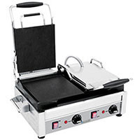 Eurodib SFE02360 stainless steel heavy duty cast iron panini and sandwich grill