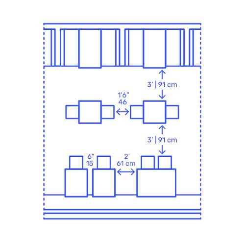 Small Tables Grouped Perpendicular