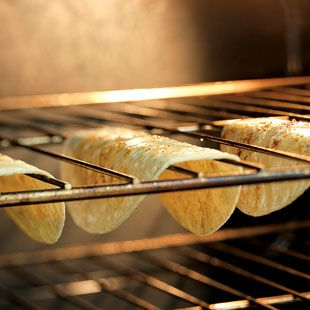 Hack #12: Make crunchy taco shells from tortillas with your oven rack