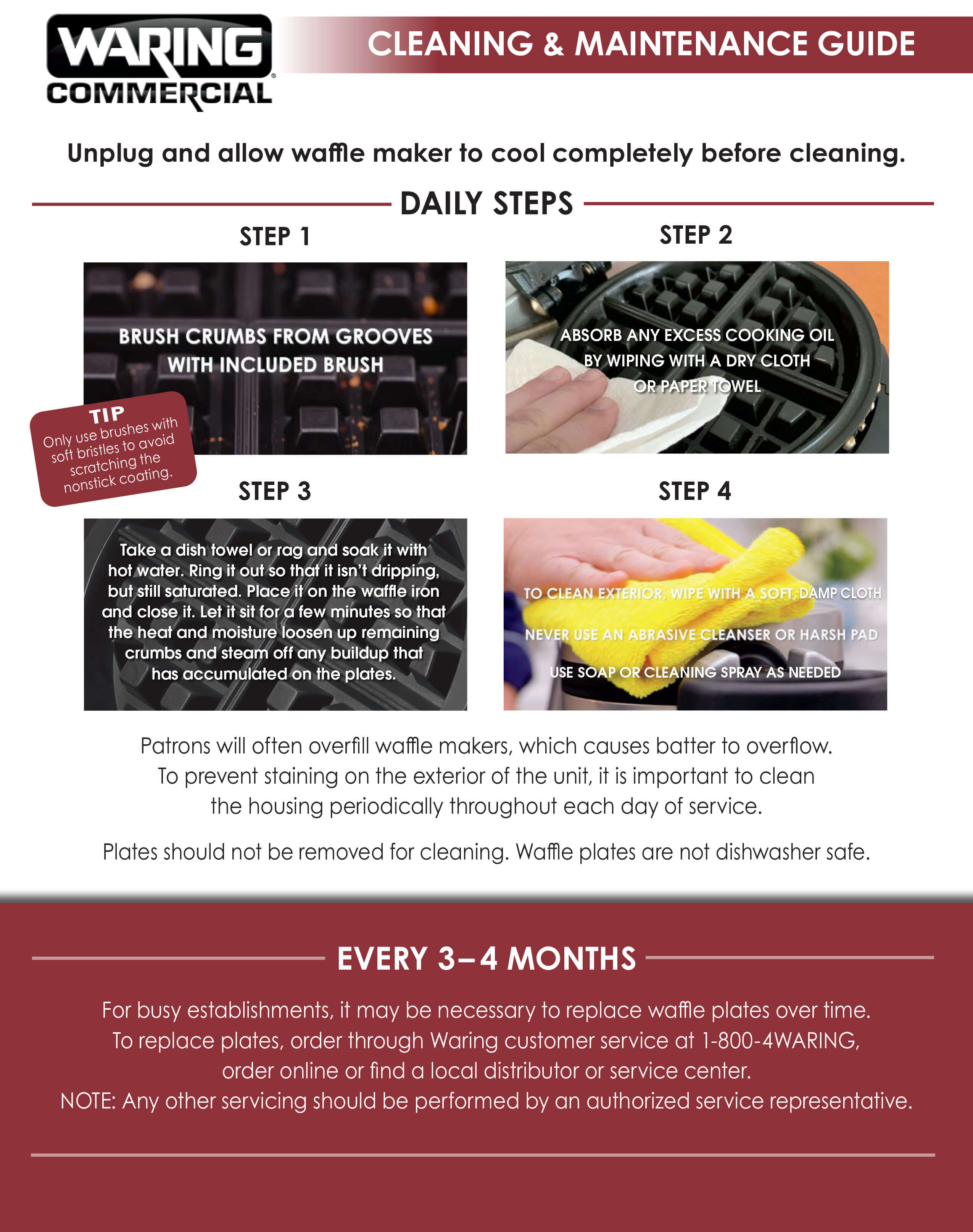 Waring - Waffle Maker Cleaning & Mantenance Guide