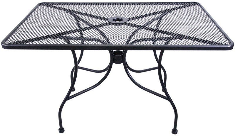 H D Commercial Seating Mt3048 48 Black Wrought Iron Outdoor Mesh Top Rectangle Table W Umbrella Hole